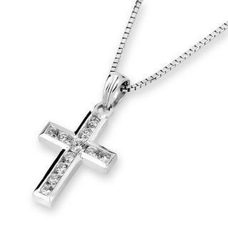 18k White Gold Cross Diamond Accents Pendant (3/20 Cttw) (free 925 Silver Box Chain)