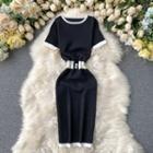 Color Block Short-sleeve Knit Sheath Dress