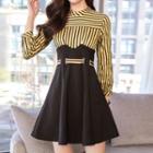Mock Two-piece Long-sleeve Striped Panel Mini Dress