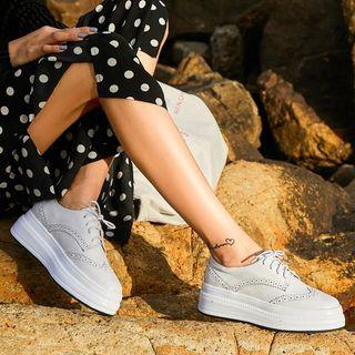 Genuine Leather Wing-tip Lace-up Oxfords