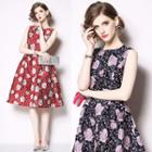 Sleeveless Floral Embroidery A-line Dress