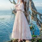 Plain Ruffled Lace Maxi Dress