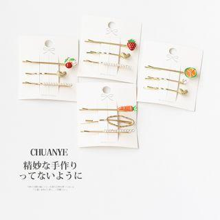 Set: Faux Pearl / Strawberry / Heart Hair Pin