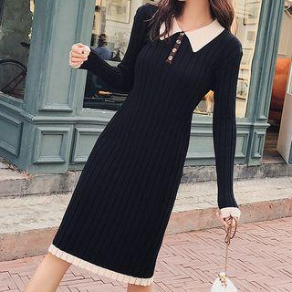 Contrast Trim Long-sleeve Knit Midi Dress Black - One Size