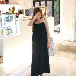 Linen Blend Pinafore Maxi Dress