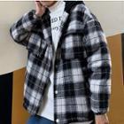 Front Pocket Plaid Zip Hooded Jacket