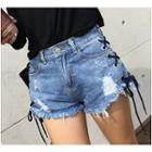 Lace Up Distressed Denim Shorts