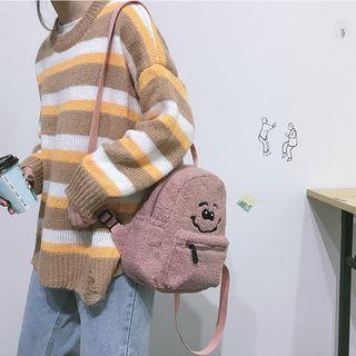 Embroidered Faux Shearling Backpack
