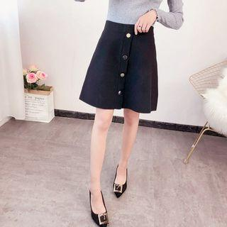 Buttoned A-line Knit Skirt Black - One Size