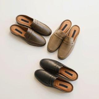 Genuine-leather Penny Mules