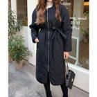 Round-neck Quilted Coat With Sash