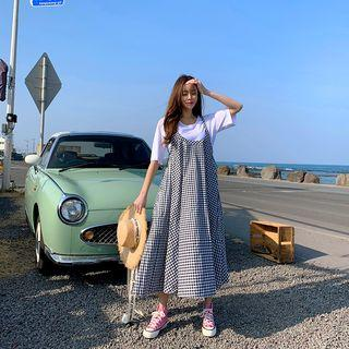 Gingham Flared Maxi Pinafore Dress