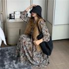 Floral Long-sleeve Dress / Faux-fur Vest