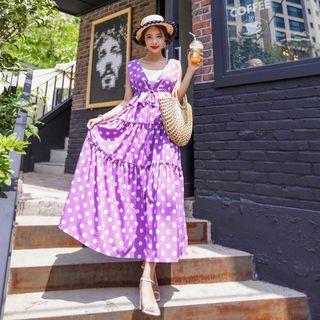 Polka-dot Maxi Pinafore Dress