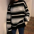 Embroidered Striped Oversized Top