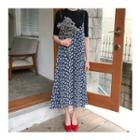 Leaf-patterned Sleeveless Long Dress