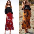 Print Midi Mermaid Skirt