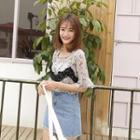Lace Trim Printed Short-sleeve Chiffon Top