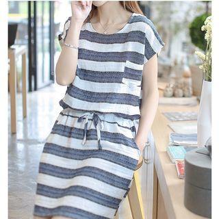 Stripe Drawstring Waist Short-sleeve Dress