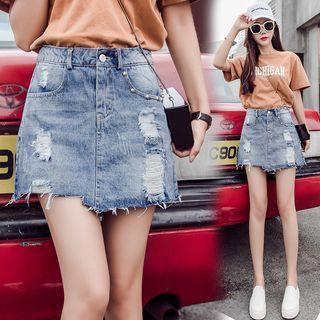 Frayed Hem Ripped A-line Mini Denim Skirt