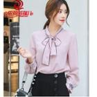 Bow Accent Flower Embroidered Chiffon Blouse