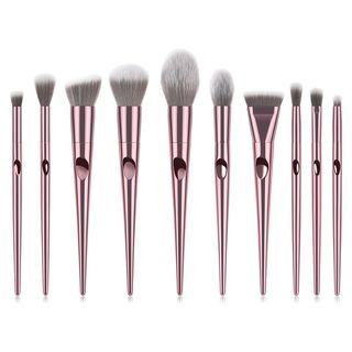 Set Of 10: Makeup Brushes 10 Pcs - Rose Gold - One Size
