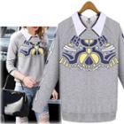 Printed Collared Pullover