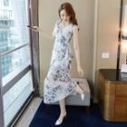 Sleeveless Floral-print Midi Dress
