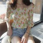 Off-shoulder Floral Print Smocked Blouse As Shown In Figure - One Size
