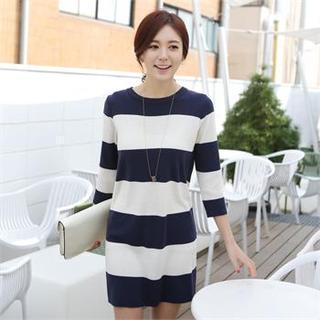 3/4-sleeve Stripe Knit Dress