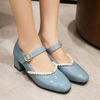 Beaded Block-heel Mary Jane Pumps
