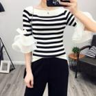 Frill Sleeve Stripe Knit Top