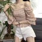 Bell-sleeve Floral Blouse / Frayed Denim Shorts