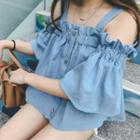 Elbow-sleeve Off Shoulder Denim Top