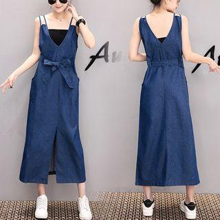Tie-waist Slit Midi Pinafore Dress