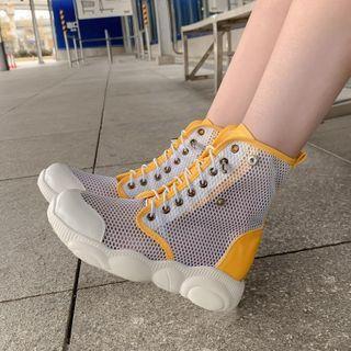 Mesh Panel Lace Up Platform Short Boots