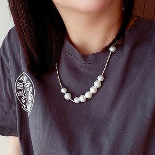 Faux Pearl Alloy Necklace White - One Size