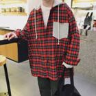 Color Panel Plaid Hooded Shirt
