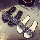 Embellished Strap Slide Sandals
