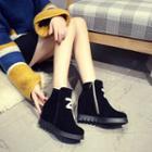 Letter Hidden Wedge Short Boots