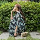 Ruffled Foliage Chiffon Long Dress
