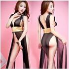 Set: Sheer Tie-waist Nightdress + Panties