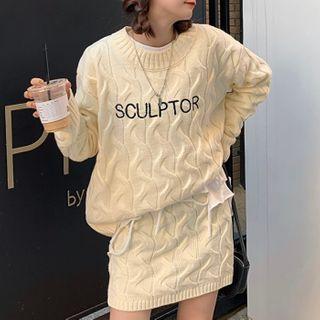 Lettering Sweater / Knit Skirt / Set