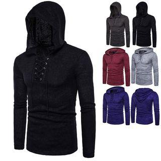 Long-sleeve Hooded Lace-up Knit Top