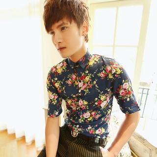 Short-sleeve Floral Shirt