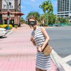 Button-front Sleeveless Stripe Knit Dress