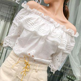 Off-shoulder Perforated Top White - One Size