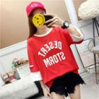 Mock Two-piece 3/4-sleeve Letter T-shirt