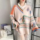V-neck Print Fringed Sweater