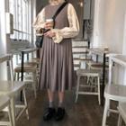 Plain Accordion Sleeveless Dress